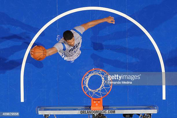 Tobias Harris of the Orlando Magic goes up for a dunk against the Golden State Warriors during the game on November 26 2014 at Amway Center in...