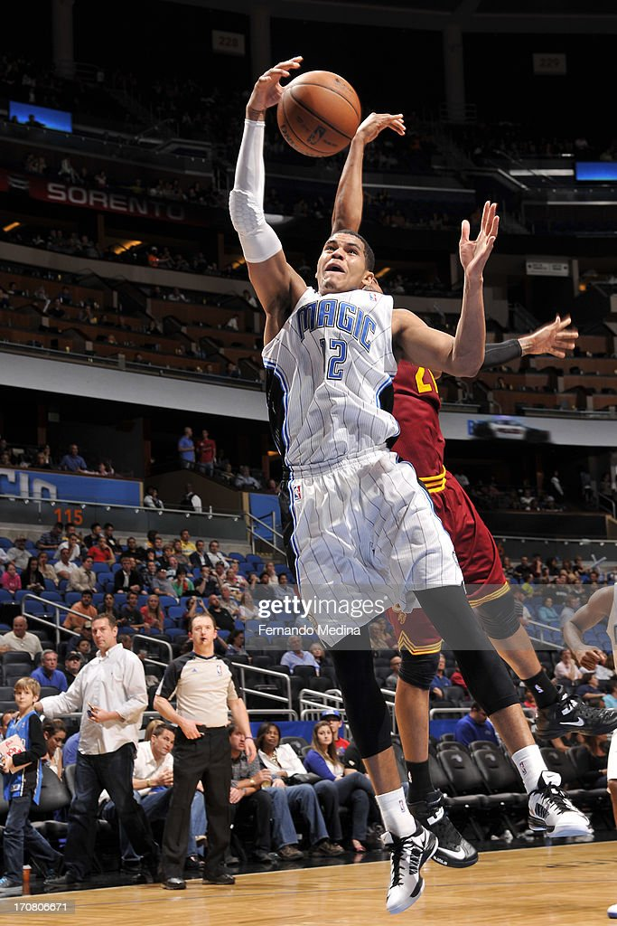 Tobias Harris #12 of the Orlando Magic grabs the rebound against the Cleveland Cavaliers during the game on February 23, 2013 at Amway Center in Orlando, Florida.
