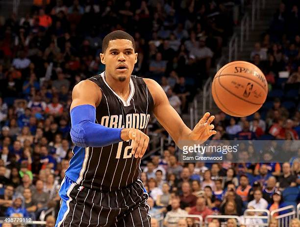 Tobias Harris of the Orlando Magic makes a pass during the game against the New York Knicks at Amway Center on November 25 2015 in Orlando Florida...