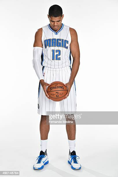 Tobias Harris of the Orlando Magic poses for a portrait during NBA Media Day on September 25 2015 at Amway Center in Orlando Florida NOTE TO USER...