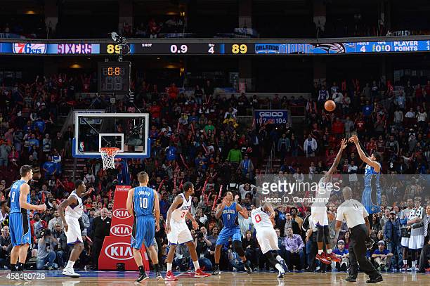 Tobias Harris of the Orlando Magic shoots a game winning buzzer beater against Philadelphia 76ers the  during the game on November 5 2014 at Wells...