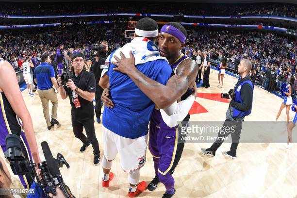 Tobias Harris of the Philadelphia 76ers and Kentavious CaldwellPope of the Los Angeles Lakers hug after the game on February 10 2019 at the Wells...