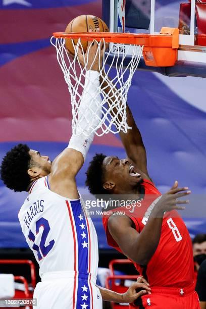 Tobias Harris of the Philadelphia 76ers blocks Jae'Sean Tate of the Houston Rockets during the second quarter at Wells Fargo Center on February 17,...