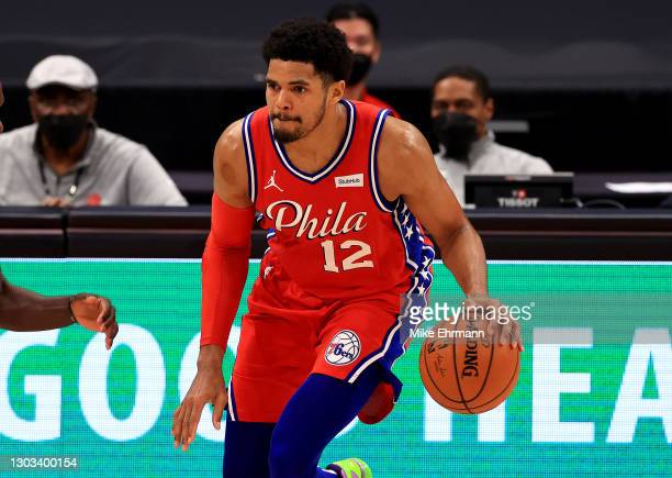 Tobias Harris of the Philadelphia 76ers brings the ball up the floor during a game against the Toronto Raptors at Amalie Arena on February 21, 2021...