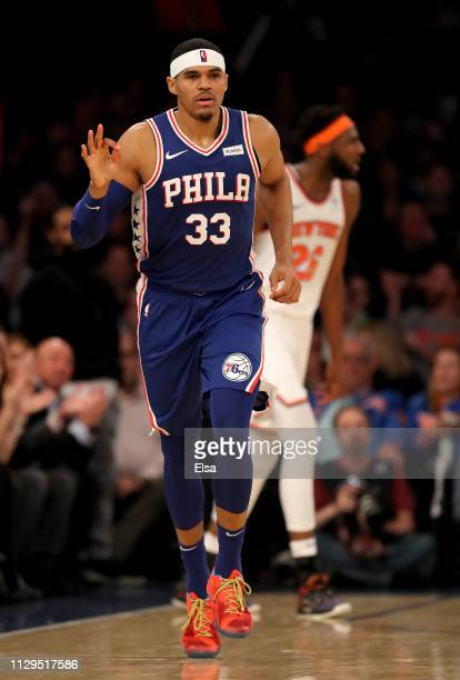 Tobias Harris of the Philadelphia 76ers celebrates his three in the second half against the New York Knicks at Madison Square Garden on February 13...