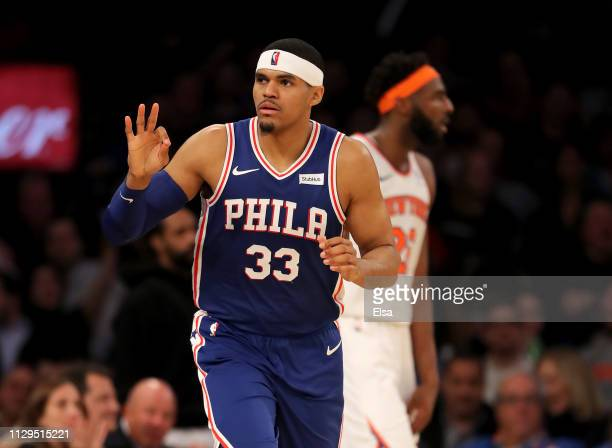 Tobias Harris of the Philadelphia 76ers celebrates his three point shot in the second half against the New York Knicks at Madison Square Garden on...