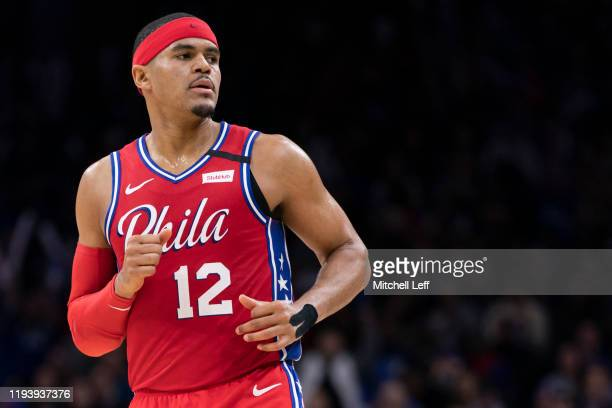 Tobias Harris of the Philadelphia 76ers looks on against the Brooklyn Nets in the fourth quarter at the Wells Fargo Center on January 15, 2020 in...