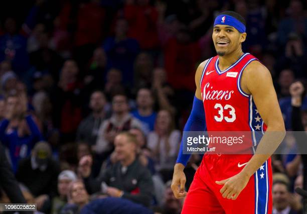 Tobias Harris of the Philadelphia 76ers reacts after a timeout in the first quarter against the Denver Nuggets at the Wells Fargo Center on February...