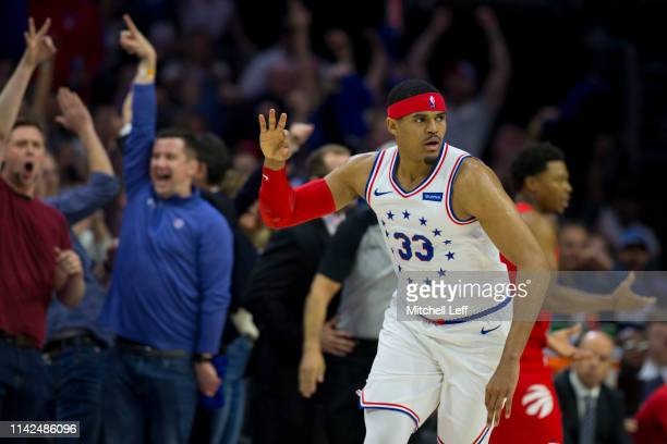 Tobias Harris of the Philadelphia 76ers reacts after making a three point basket against the Toronto Raptors in the first quarter of Game Six of the...
