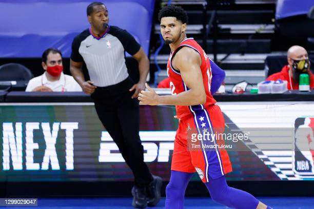 Tobias Harris of the Philadelphia 76ers reacts after making the go-ahead basket during the fourth quarter against the Los Angeles Lakers at Wells...