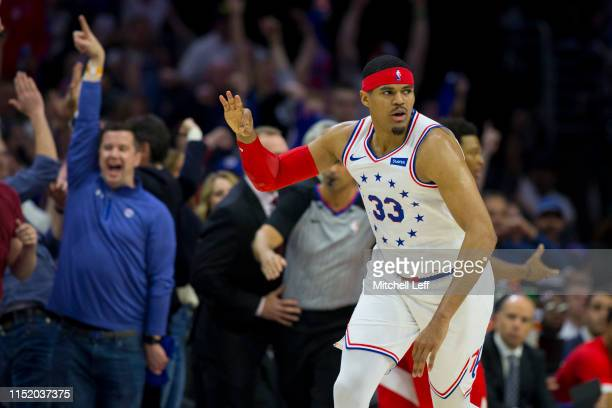 Tobias Harris of the Philadelphia 76ers reacts against the Toronto Raptors in Game Six of the Eastern Conference Semifinals at the Wells Fargo Center...
