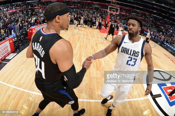Tobias Harris of the Wesley Matthews of the Dallas Mavericks exchange handshakes after the game between the two teams on February 5 2018 at STAPLES...