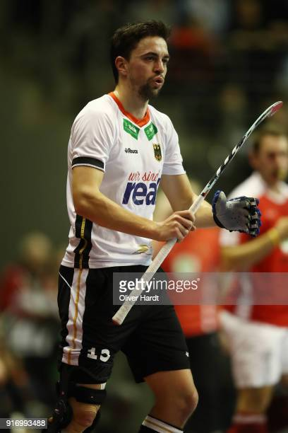 Tobias Hauke of Germany in action during the Mens Gold Medal Indoor Hockey World Cup Berlin Final Day match between Germany and Austria on February...