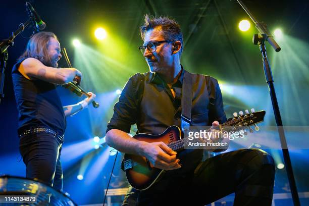 Tobias Heindl and Ralf Albers of Fiddler's Green perform live on stage during a concert at Columbia Theater on May 11, 2019 in Berlin, Germany.