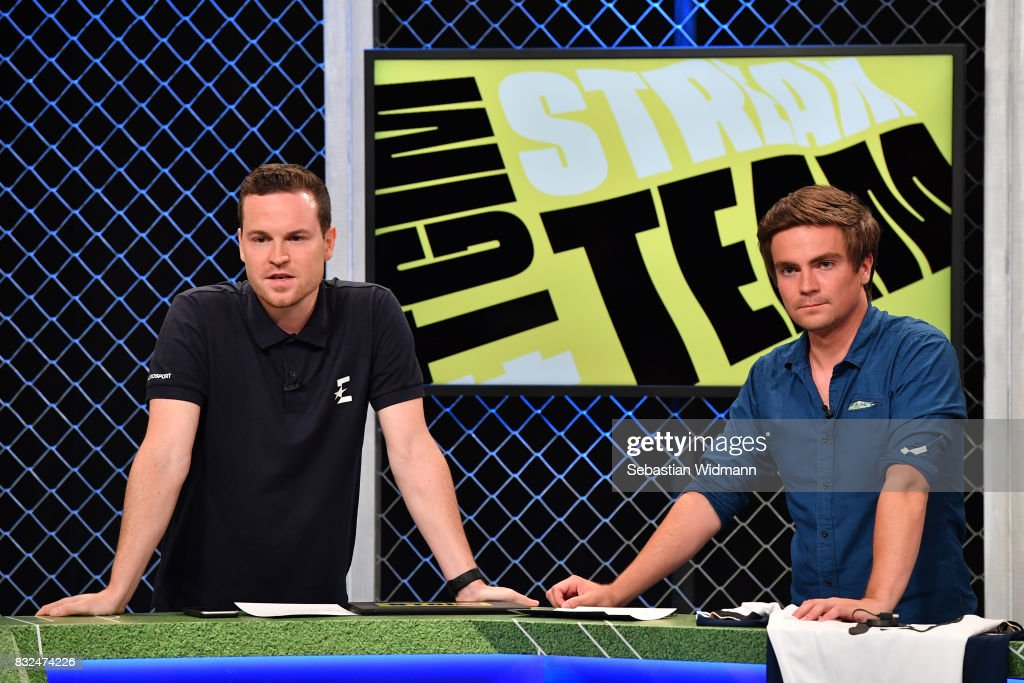 Tobias Hlusiak (L) and Max Zielke of the #TGIM - Stream Team stand on stage during the Eurosport Bundesliga Media Day on August 16, 2017 in Unterfohring, Germany.