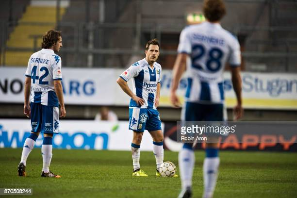 Tobias Hysen Mikkel Diskerud and Thomas Rogne of IFK Goteborg dejected after Peter Wilson of GIF Sundsvall scored 02 during the Allsvenskan match...