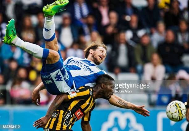 Tobias Hysen of IFK Goteborg and Mohammed Abubakari of BK Hacken battles for the ball during the Allsvenskan match between IFK Goteborg and BK Hacken...