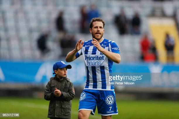 Tobias Hysen of IFK Goteborg celebrates after the victory during the Allsvenskan match between IFK Goteborg and BK Hacken at Gamla Ullevi on April 28...