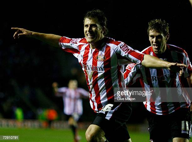 Tobias Hysen of Sunderland celebrates his goal during the Coca Cola Championship match between Leicester City and Sunderland at the Walkers Stadium...