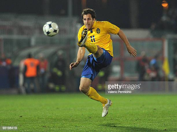 Tobias Hysen of Sweden in action during the international friendly match between Italy and Sweden at Dino Manuzzi Stadium on November 18 2009 in...