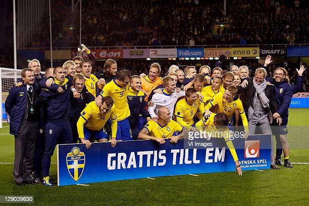 Tobias Hysen of Sweden,Kim Kallstrom of Sweden,Daniel Majstorovic of Sweden,Anders Svensson of Sweden,Rasmus Elm of Sweden during the EURO 2012...