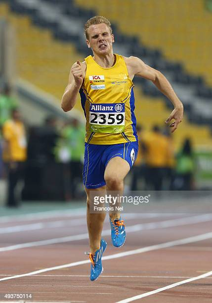 Tobias Jonsson of Sweden in action during the Men's 100m T12 heats during the Evening Session on Day One of the IPC Athletics World Championships at...