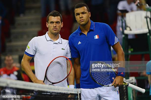 Tobias Kamke of Germany and JoWilfried Tsonga of France pose during day 3 of the Davis Cup Quarter Final match between France and Germany on April 6...