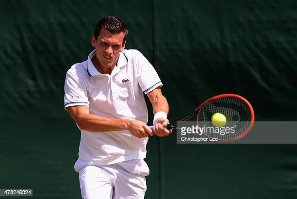 Tobias Kamke of Germany in action against Alejandro Falla of Columbia in the Gentlemens second Round during the 2015 Wimbledon Qualifying Session on...