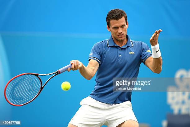 Tobias Kamke of Germany in action against David Goffin of Belgium during their Men's Singles third round qualifying match on day two of the Aegon...