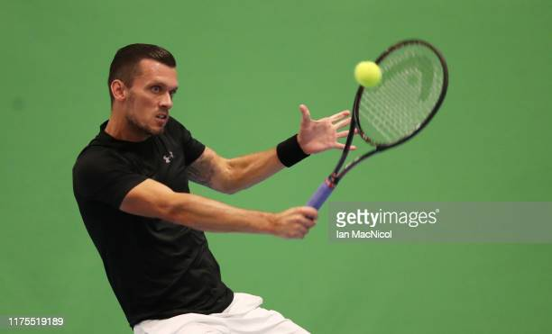 Tobias Kamke of Germany is seen in action during his third round match against Johannes Haerteis of Germany on day three of The Murray Trophy at...