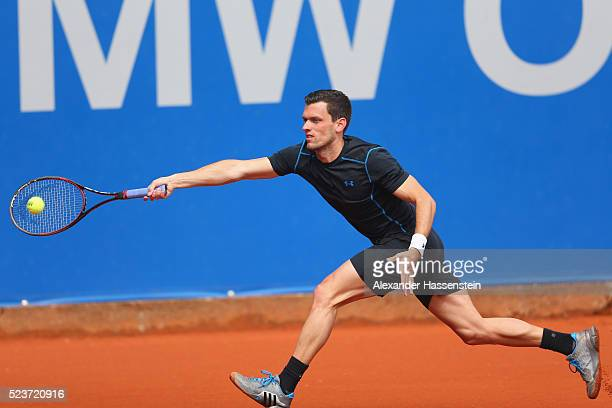 Tobias Kamke of Germany plays a fore hand during his qualification match gainst Matthias Bachinger of Germany during the BMW Open at Iphitos tennis...