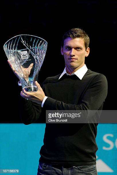 Tobias Kamke of Germany receives the ATP Newcomer of the Year 2010 award during the ATP World Tour Finals at O2 Arena on November 26 2010 in London...