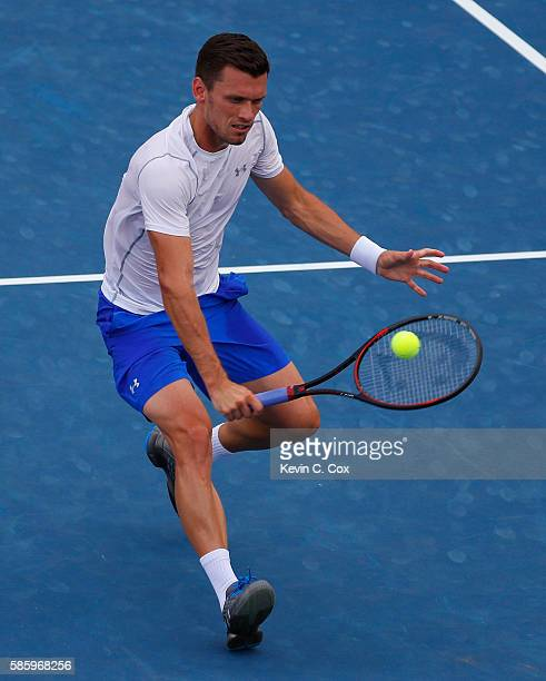Tobias Kamke of Germany returns a backhand to Horacio Zeballos of Argentina during the BBT Atlanta Open at Atlantic Station on August 4 2016 in...
