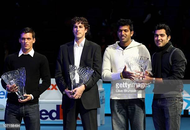 Tobias Kamke of Germany winner ATP Newcomer of the Year 2010 award Robin Haase winner of Comeback Player of the Year award and Rohan Bopanna of India...