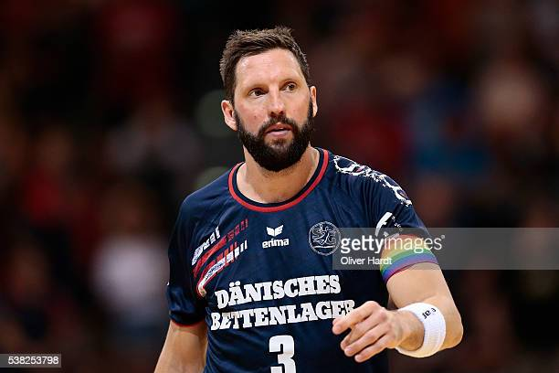Tobias Karlsson of Flensburg appears frustrated during the bundesliga match between SG Flensburg and Bergischer HC at FlensArena on June 5 2016 in...