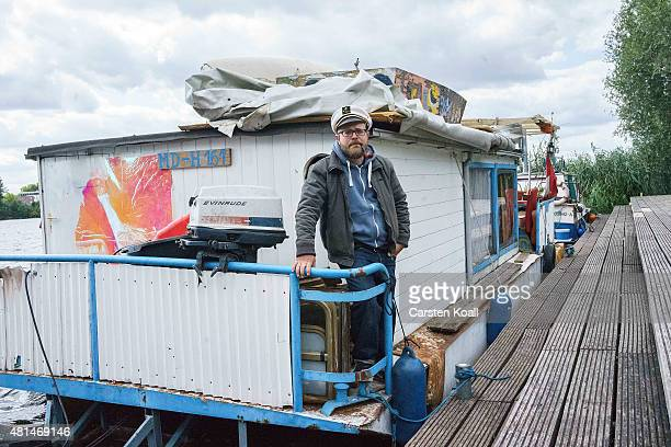 Tobias Kasimirowicz in his role as Kaept'n Kasi poses on set during the shooting for the new local production 'Kaept'n Kasi Auf hoher Spree' by TV...