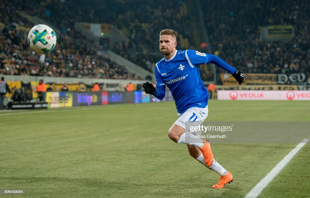Tobias Kempe of Darmstadt in action during the Second Bundesliga match between SG Dynamo Dresden and SV Darmstadt 98 at DDV-Stadion on March 2, 2018 in Dresden, Germany.