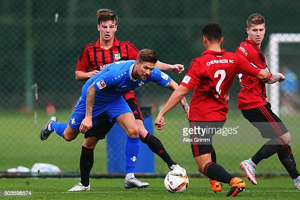 Tobias Kempe of Darmstadt is challenged by Jamil Dem of Chemnitz during a friendly match between SV Darmstadt 98 and Chemnitzer FC on January 6 2016...