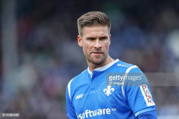 Tobias Kempe of Darmstadt looks on during the Second Bundesliga match between SV Darmstadt 98 and MSV Duisburg at MerckStadion am Boellenfalltor on...