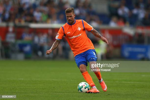Tobias Kempe of Darmstadt runs with the ball during the Second Bundesliga match between MSV Duisburg and SV Darmstadt 98 at SchauinslandReisenArena...
