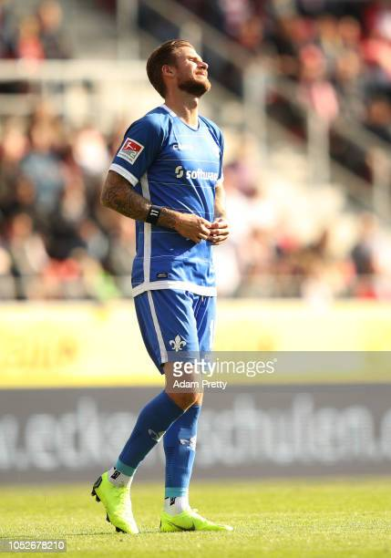 Tobias Kempe of SV Darmstadt 98 is dejected during the Second Bundesliga match between SSV Jahn Regensburg and SV Darmstadt 98 at Continental Arena...