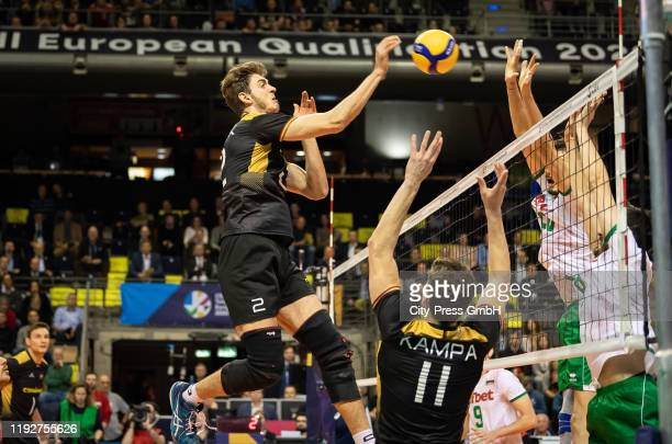 Tobias Krick and Lukas Kampa of team Germany during the Volleyball European Qualification match between Bulgaria and Germany at MaxSchmelingHalle on...