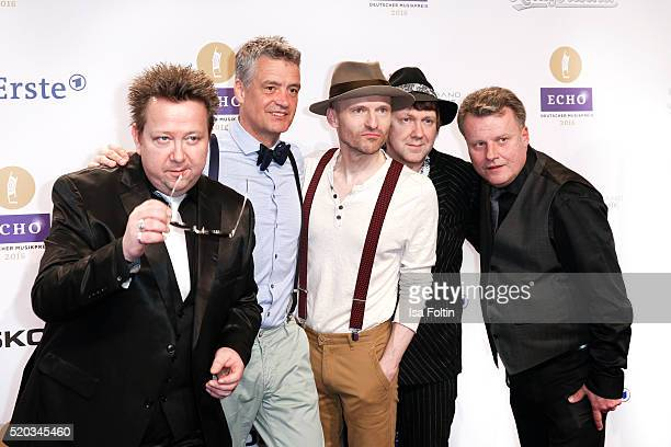 Tobias Kuenzel Jens Sembdner Wolfgang Lenk Matthias Dietrich and Henri Schmidt of the band 'Die Prinzen' attend the Echo Award 2016 on April 07 2016...
