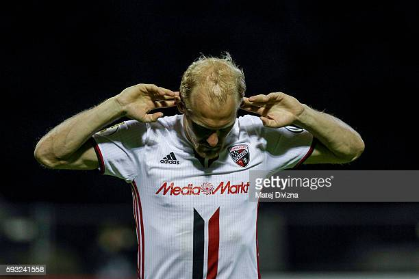 Tobias Levels of Ingolstadt celebrates after decisive penalty during the DFB Cup match between Erzgebirge Aue and FC Ingolstadt at...