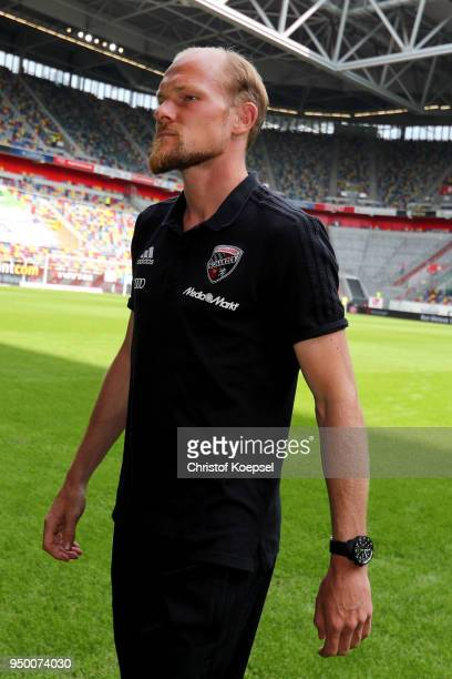 Tobias Levels of Ingolstadt is seen prior to the Second Bundesliga match between Fortuna Duesseldorf and FC Ingolstadt 04 at EspritArena on April 22...