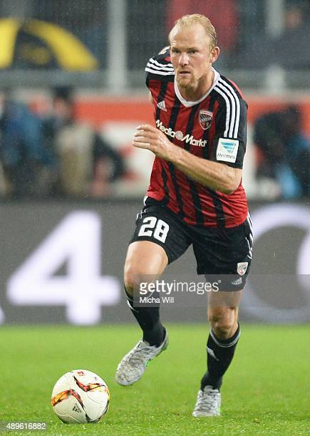 Tobias Levels of Ingolstadt runs with the ball during the Bundesliga match between FC Ingolstadt and Hamburger SV at Audi Sportpark on September 22...