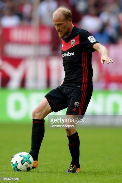 Tobias Levels of Ingolstadt runs with the ball during the Second Bundesliga match between Fortuna Duesseldorf and FC Ingolstadt 04 at EspritArena on...