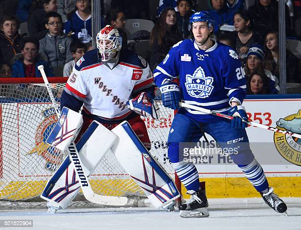 Tobias Lindberg of the Toronto Marlies gets in front of Magnus Hellberg of the Hartford Wolf Pack during game action on April 13 2016 at the Ricoh...