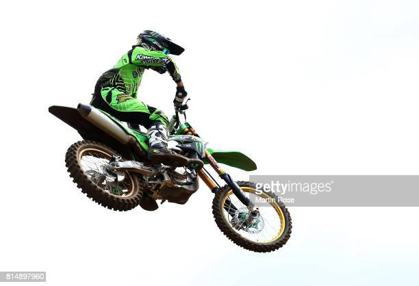 Tobias Linke of Germany in action during the International German Motocross Championships on July 15 2017 in Tensfeld Germany