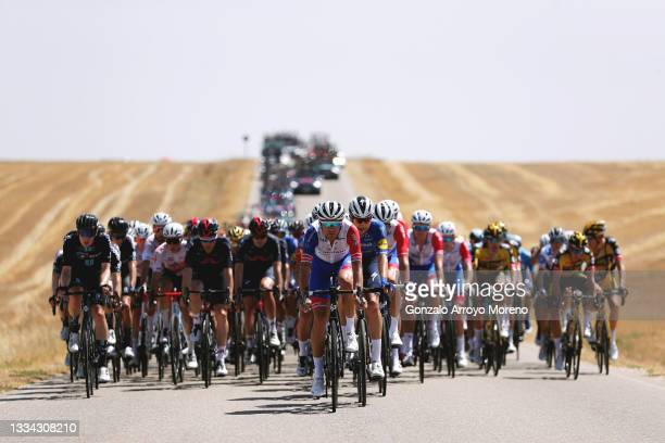 Tobias Ludvigsson of Sweden and Team Groupama - FDJ and the peloton passing through a landscape during the 76th Tour of Spain 2021, Stage 2 a 166,7km...